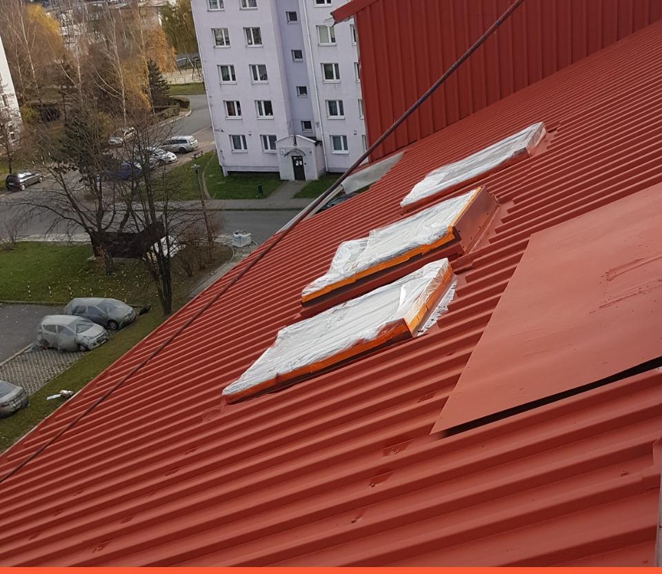 Świeżo malowany dach